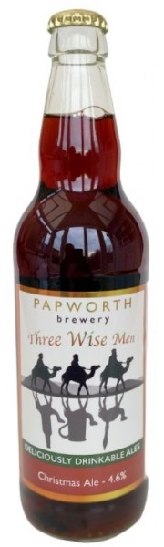 Three Wise Men Bottle Conditioned Christmas Ale   4.2% vol Papworth Brewery 1 x 500ml bottle Limited Stock